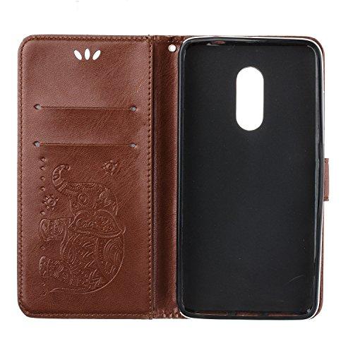 Funda Xiaomi Redmi Note 4, Carcasa Xiaomi Redmi Note 4X, CaseLover Piel Libro Cuero Elefante Impresión Carcasa para Redmi Note 4 / Note 4X con TPU Silicona Case Cover Interna Suave Flip Folio Tapa y C Marrón