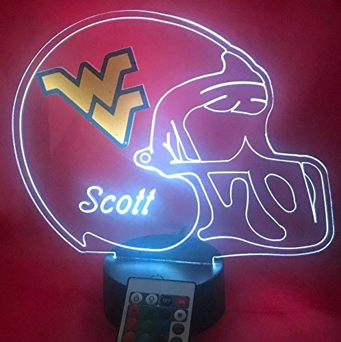 (West Virginia Mountaineers College Football Helmet Light Lamp Light Up Table Lamp LED with Remote, Our Newest Feature - It's Wow, with Remote 16 Color Options, Dimmer, Free Engraving, Great Gift)