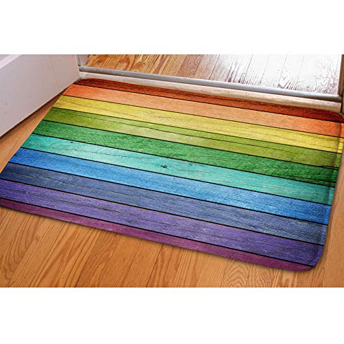 HUGS IDEA Rustic Old Barn Wood Rainbow Colors Doormat Welcome Door Mats Indoor Bathroom Rugs Entrance Floor Carpet Home Office Decor