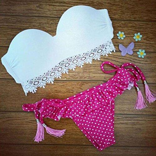 LHWY Las Mujeres Bikini Conjunto Blanco y Rosa A