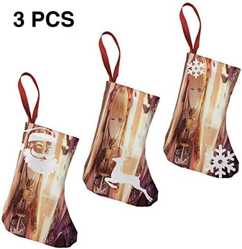 クリスマスの日の靴下 (ソックス3個)クリスマスデコレーションソックス かわいい女の子 クリスマス、ハロウィン 家庭用、ショッピングモール用、お祝いの雰囲気を加える 人気を高める、販売、プロモーション、年次式
