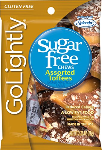 GoLightly Sugar Free Chews, Assorted Toffees, 2.75 Ounce Bag (Pack of 12)