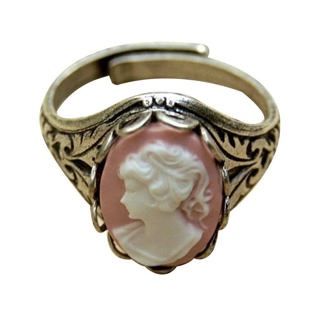 Slendima Vintage Beauty Portrait Sculpture Pattern Cuff Finger Ring Women Jewelry Pink US 6