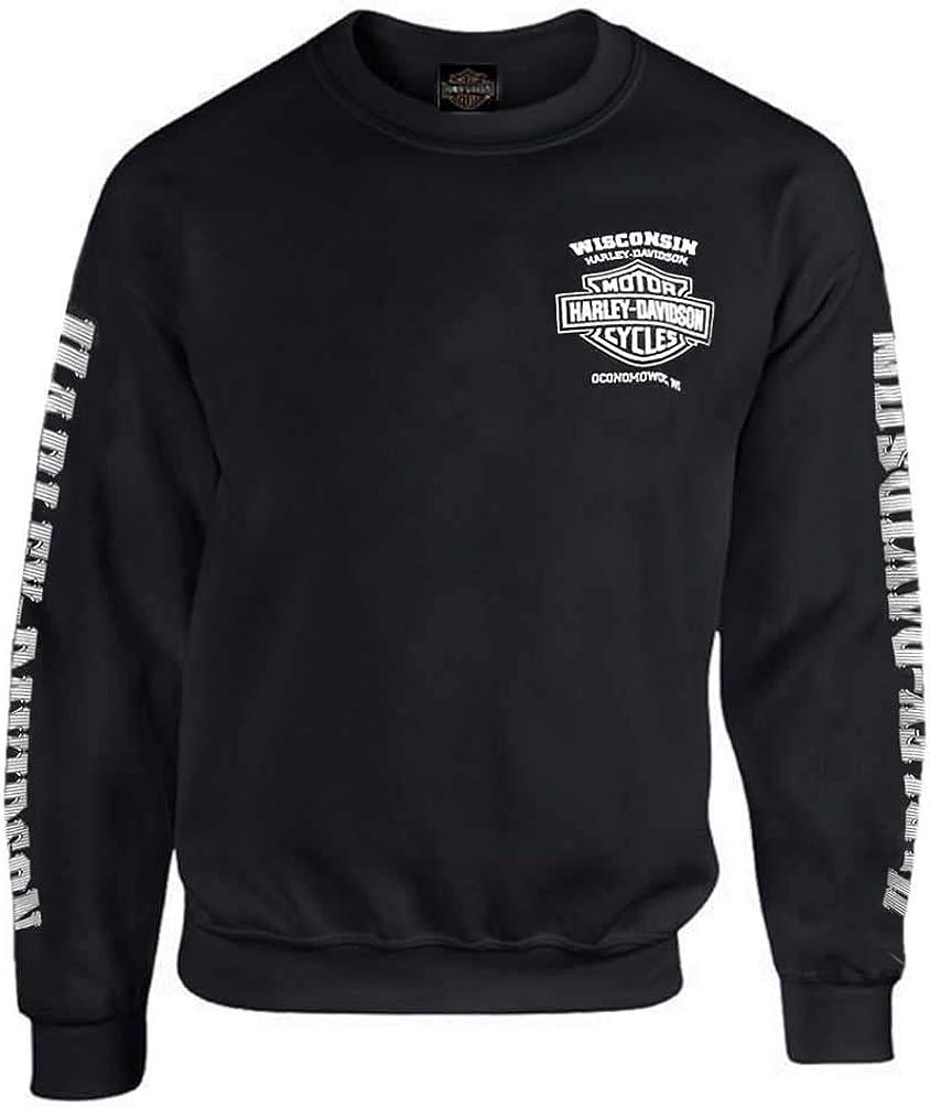 B077BLF68D HARLEY-DAVIDSON Men's Lightning Crest Fleece Pullover Sweatshirt, Black 51zr-mBqbUL