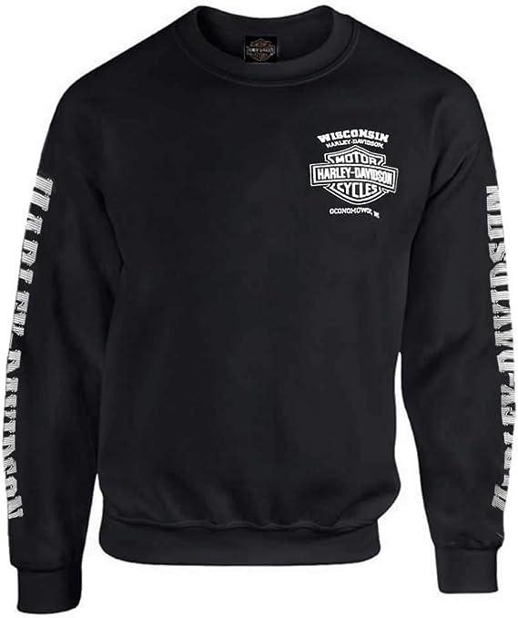Black Harley-Davidson Mens Bar /& Shield Long Sleeve Crew Neck Fleece Sweatshirt