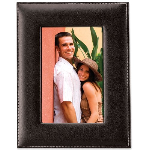 - Lawrence Frames Black Leather 4 by 6 Picture Frame