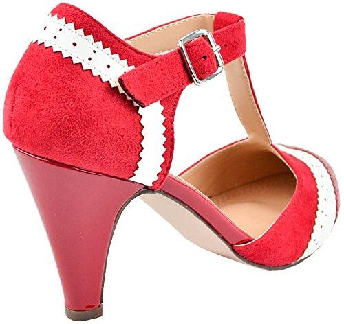 Cambridge Select Dames Gesloten Teen T-strap Wingtip Style Uitgesneden Mid-heel Jurk Pump Rood / Wit