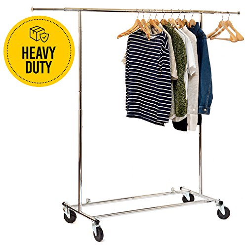 Basics Hardware Elegant Commercial Grade Clothing Garment Rack, Extendable Hanging Rack, Chrome Rolling ()
