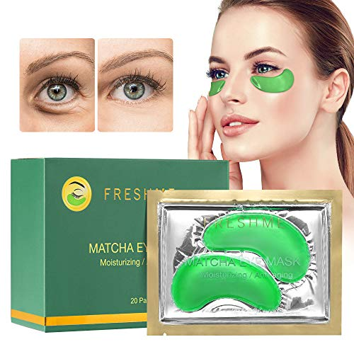 51zr04S%2B5kL - FRESHME Matcha Eye Mask - 20 Pairs Under Eye Patches Aloe Vera Extract Gel Masks for Anti Aging Reduce Puffiness Dark Circles Hyaluronic Acid Deep Hydration Eye Pads Treatment Mask for Women and Men