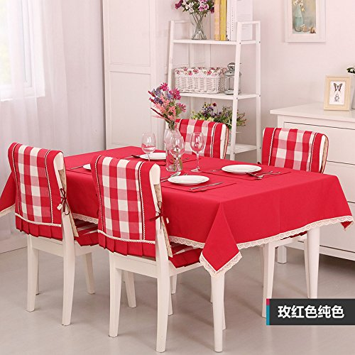 (Table Cloth Waterproof Mediterranean High-Grade Yarn Dyed Rose Red Solid Color Tablecloth Coffee Computer Tablecloth,Waterproof Rose Red Solid Color,Single 140X140Cm)
