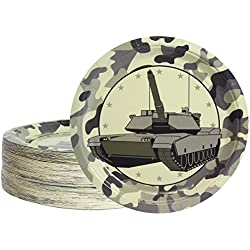 Disposable Plates - 80-Count Paper Plates, Camo Party Supplies for Appetizer, Lunch, Dinner, and Dessert, Tank Design, 9 inches in Diameter
