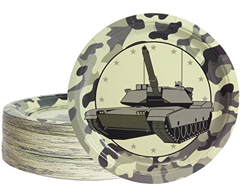 Disposable Plates - 80-Count Paper Plates, Camo Party Supplies for Appetizer, Lunch, Dinner, and Dessert, Tank Design, 9 inches in Diameter ()