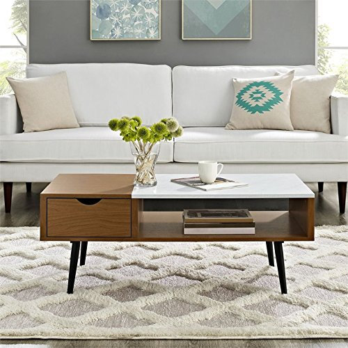 Walker Edison Furniture Company Wood and Glass Coffee Table in Dark Walnut