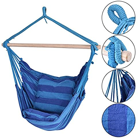 Blue Deluxe Hammock Rope Chair Patio Porch Yard Tree Hanging Air Swing Outdoor (Bench Cushion Indoor 40 Inch)