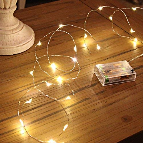 BXROIU 2 x Fairy String Lights Battery Operated, 2 Mode Silver Wire String Lights 16.5ft 50 LEDs for Bedroom Christmas Parties Wedding Decorations (warmwhite)