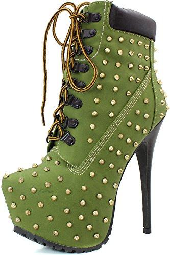Breckelles Blazer-12 Womens Elegant Dubbade Snörning Plattformankel Tossor, Färg: Militärgrön, Storlek: 5,5