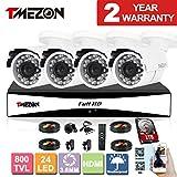 Cheap TMEZON 8CH Channel 960H HDMI Output P2P DVR Recorder 4x 800TVL Cameras Outdoor CCTV Surveillance Security System APP Mobile Access 1TB Hard Drive