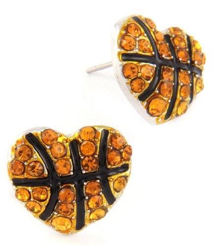 Basketball Heart Earrings C54 Brown Crystal Stud Posts Team ()