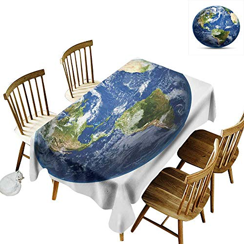 kangkaishi World Map Waterproof, Anti-Wrinkle, no Pollution Long Tablecloth Planet Earth Picture from Space Satellite Continents Clouds Picture W14 x L108 Inch Navy Blue Green White