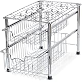 Under Kitchen Sink Storage SimpleHouseware Stackable 2 Tier Sliding Basket Organizer Drawer, Chrome