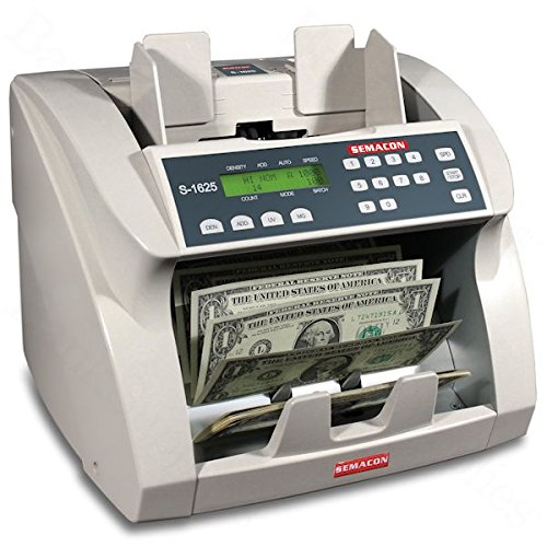 (Semacon S-1625 Ultra High-Speed Premium Bank Grade Currency Counter with Ultraviolet and Magnetic Counterfeit Detection; Counting Mode, Adding Mode and Memory; 1000/1200/1500/1800 Notes per Minute)