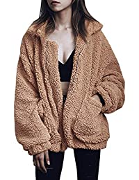 Women's Coat Casual Lapel Fleece Fuzzy Faux Shearling Zipper Coats Warm Winter Oversized Outwear Jackets