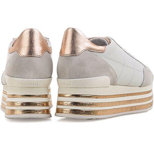 Hogan Sneakers Donna Maxi H222 Monogramma Impunturato Mod. Hxw3490j061i7x0989 Bianca E Oro 37½
