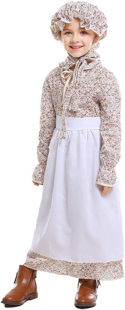 Vantina Colonial Dress Prairie Pioneer Costume Wolf Grandma Cosplay Costumes Halloween Dress for Women and Girls