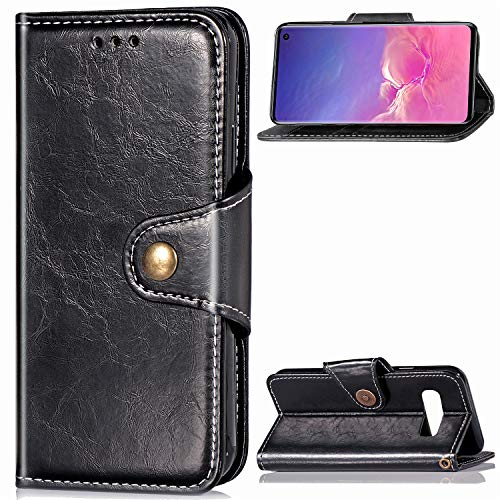 DAMONDY Galaxy S10 Case,Retro Business Stand Wallet Purse Card ID Holders Design Flip Cover TPU Soft Bumper PU Leather Magnetic for Samsung Galaxy S10 6.1 Inch (2019)-Black