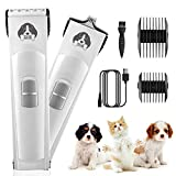 GHB Dog Clippers, Dog Grooming Clippers Professional Large & Small Blades Pet Hair Clippers Low Noise Dog Hair Trimmer Rechargeable Cordless Pet Clippers for Dogs Cats Ears Paw Face