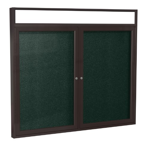 Headliner Cork Bulletin Board - Ghent 36 x 60 Inches Outdoor Bronze Frame Enclosed Vinyl Bulletin Board with Headliner , Ebony , Made in the USA