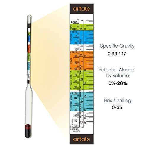 artale Triple Scale Alcohol Hydrometer Test Kit for Home Brew Beer, Wine, Mead, Cider with Specific Gravity Test Kit, 250ml Plastic Test Jar, Cleaning Brush/Cloth/Storage Bag - ABV, Brix and Gravity by artale (Image #3)