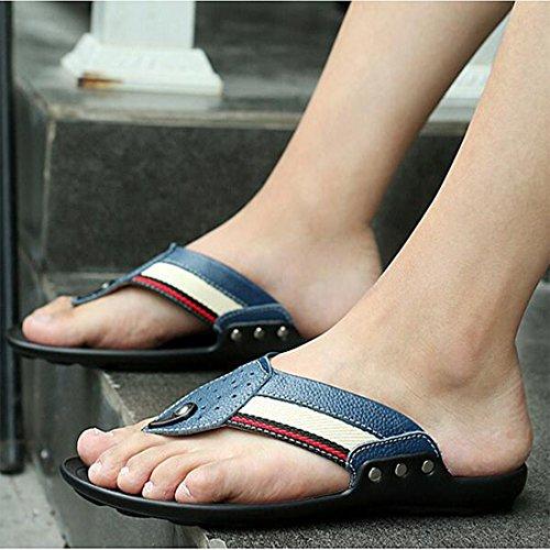 Sandalias De Chanclas Hombres Moda Verano Cuero De Zapatillas Blue De para garg8