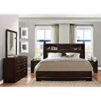 Roundhill Furniture Montana Modern 5-Piece Wood Bedroom Set with Bed, Dresser, Mirror, 2 Nightstands, King, Walnut