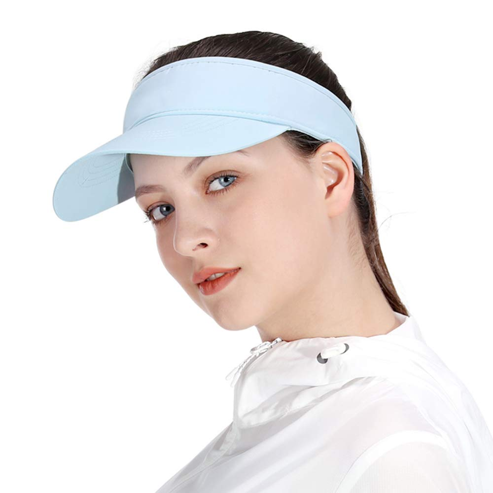 Blue Sun Visors for Girls and Women, Long Brim Thicker Sweatband Adjustable Hat for Golf Cycling Fishing Tennis Running Jogging Sports by Veatree