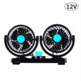 LLVV MINI Electric Car Ventilation Fan Head Shaking Small Truck Cooling Conditioner 360 Degree Rotating Vehicle Fans 12V 24V,Blue