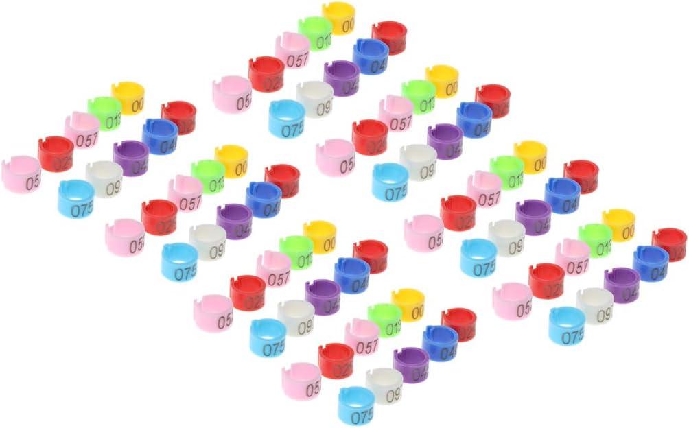 joyMerit 50 Piezas Bandas De Patas De Pájaro Palomas Loros Pollitos Pato Clip Anillos Banda Color Aleatorio