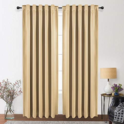 WONTEX Thermal Insulated Blackout Curtains, Back Tab and Rod Pocket Room Darkening Curtains for Living Room and Bedroom, Set of 2 Curtain Panels, 42 x 84 inch, Beige (Back Curtain Tab)