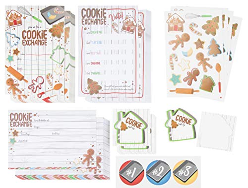 Party House Invitations Gingerbread (Christmas Cookie Exchange and Swap Party Kit - 24-Pack Holiday Party Invite Cards, Recipe Cards, Voting Ballots with Stickers for Xmas Party Event, Fill-In-Blank Postcard Style, 4 x 6 inches)