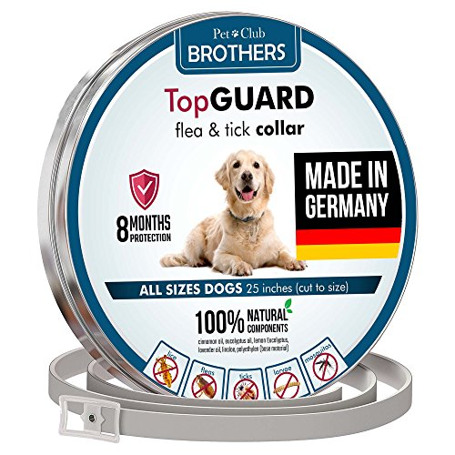 Flea Collar for Dogs - MADE IN GERMANY - Flea and Tick Prevention for Dogs - Dog Flea and Tick Control for 8 Months - Safe & Hypoallergenic - Waterproof Flea Treatment - One Size Fits All Tick Collar