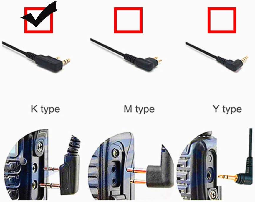 TWAYRDIO Two Way Radio Earpiece C Shape Earhook 2 Pin Walkie ...