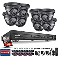 Sannce 1080P 16CH Video Security System with 2TB Hard Drive and (8) HD 19201080p CCTV Dome Cameras (IP66 Weatherproof Metal Housing, 100ft IR LED Night Vision, Motion Detection)