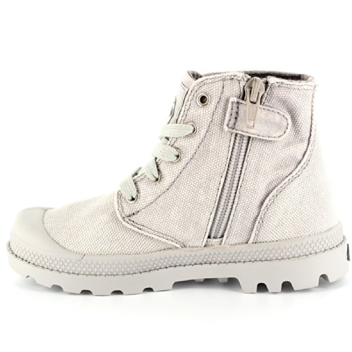 Kids Boot Zipper Palladium Grey Lace Trainer Unisex Up Pampa Hi Canvas Ankle dIvx11qnUw