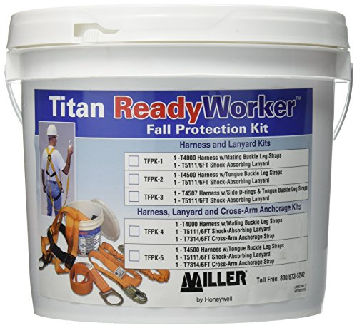 Fall Arrest System - Titan ll ReadyWorker Fall Protection Kit with Harness & Lanyard, Universal Size-Large/XL (TFPK-1/U/6FTAK)