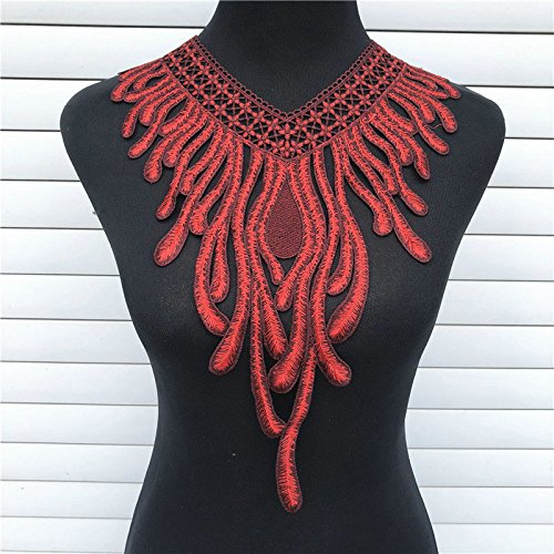 1PC Red/Blue/Brown Polychromatic Phoenix Embroidered Floral Lace Neckline Collar Scrapbooking Trim Clothes Sewing Applique Embroidery Edge (Red)