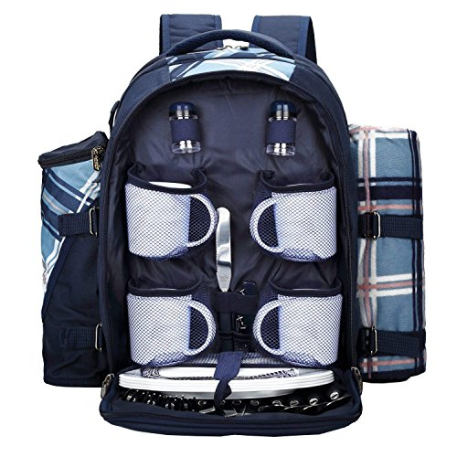 apollo walker Picnic Backpack Bag for 4 Person with Cooler Compartment, Detachable Bottle/Wine Holder, Fleece Blanket(45