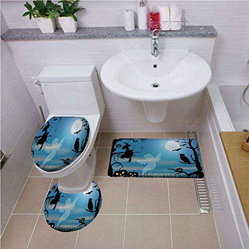 Bath mat Set Round-Shaped Toilet Mat Area Rug Toilet Lid Covers 3PCS,Halloween,Ghost Witch Owl Spider Web Bats Trees Fantastic Grange Forest at Night Decorative,Blue Black White,Printed Rug Set