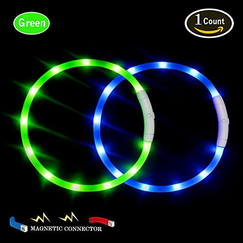 LED Dog Collar,USB Rechargeable Glowing Dog Collar, Light Up Collar Improved Dog Safety at Night, 3 Flashing Modes,Water-Resistant Lighted Collar Fits for Small Medium Large Dogs (Neon Green-Magnetic)