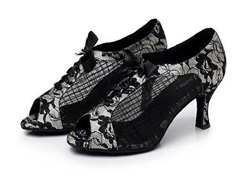 JSHOE Dentelle Imprimée Maille Chaussures de Danse Latine Salsa/Tango/Thé/Samba/Moderne/Chaussures de Jazz Sandales Talons Hauts,Silver-heeled7.5cm-UK5/EU37/Our38