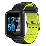Smart Watch - Fitness Tracker Blood Pressure All-Day Heart Rate Monitor Activity Tracking Support Bluetooth 4.0. Compatible iPhone iOS 8.0 or Above Android 4.4 or Above Men Women (Yellow)